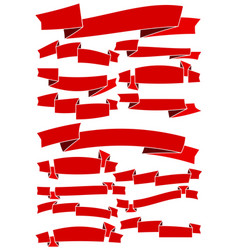 set of fifteen red cartoon ribbons and banners vector image