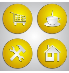 set of round yellow site icons with paper cut vector image