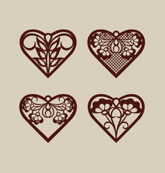 set stencil lacy hearts with openwork pattern vector image