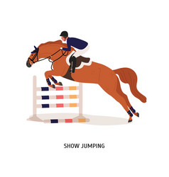 Show jumping flat horse rider vector