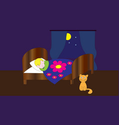 Sleeping boy in bed vector