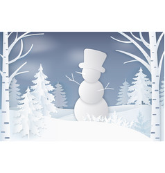 snowman standing in forest with pine and birches vector image