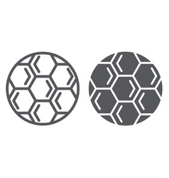 Soccer ball line and glyph icon play and game vector
