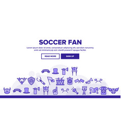 Soccer fan equipment landing header vector