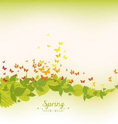 Spring leaves and butterflies background vector