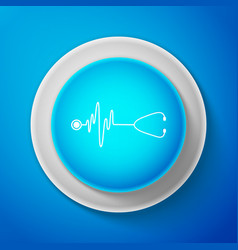 Stethoscope with a heart beat icon pulse care vector