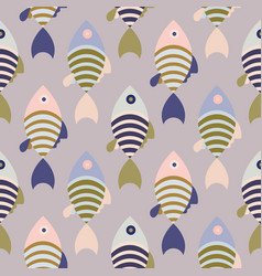 Striped cartoon fish seamless pattern vector