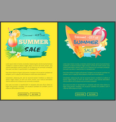Summer sale web posters cocktail and surfboard vector