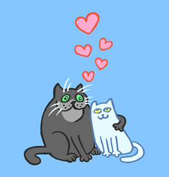 Sweet enamored cats in grey and blue colors vector