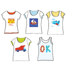 T-shirts design for kids with toys vector image