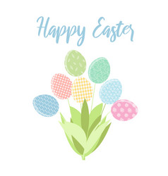 tender bouquet of colorful easter eggs vector image