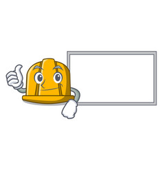 thumbs up with board construction helmet character vector image