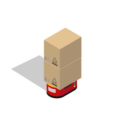 transportation robot with boxes colorful banner vector image