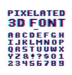Video game pixelated 3d font 8 bit pixel art old vector