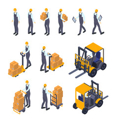 Warehouse man sign 3d icon set isometric view vector