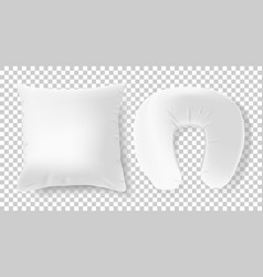 white 3d realistic pillows - square and road neck vector image