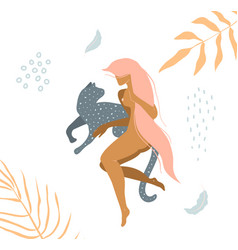 Wild cat and naked woman laying down in nature vector