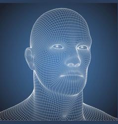 Wire frame blue print human head vector
