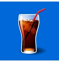 Cola or soda glass with ice cubes isolated on blue vector image vector image
