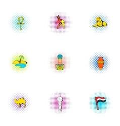 Egypt republic icons set pop-art style vector