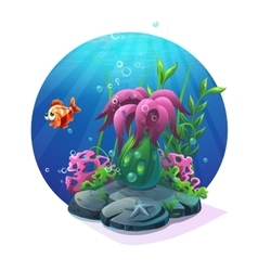 Marine life on the sandy bottom of the ocean vector image vector image