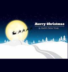 merry christmas with santa silhouette on the moon vector image vector image