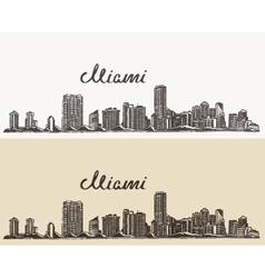 Miami skyline engraved hand drawn sketch vector