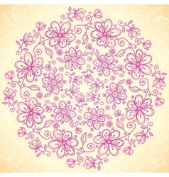 Pink doodle vintage flowers circle background vector image vector image