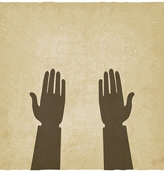 prayer hands symbol old background vector image vector image