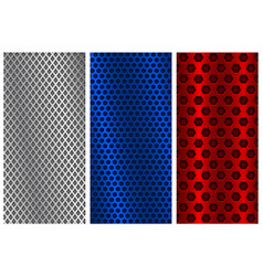 blue red and silver metal perforated backgrounds vector image