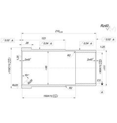 Bushing sketch engineering drawing vector