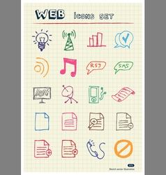 Business and media web icons set vector image