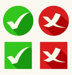 Check mark icons in flat style with long shadows vector image vector image
