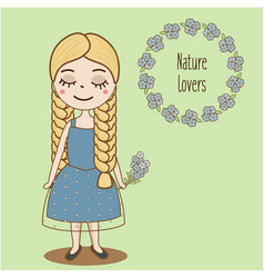 hand drawn girl with braids beautiful kid in blue vector image