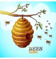 Honey bees and hive on tree branch background vector image vector image
