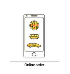 line drawn icon and concept of mobile app for vector image vector image