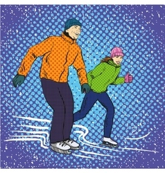 Man and woman ice skating in vector