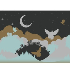 Pigeon in the Clouds4 vector image vector image