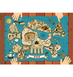 treasure map on desk vector image vector image