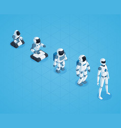 evolution of robots isometric design vector image vector image