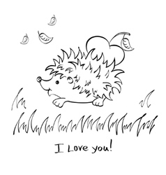 Hedgehog with heart drawing vector image vector image