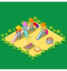 Isometric children playground with sweengs vector