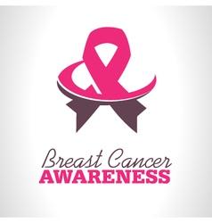 Pink ribbon awareness logo icon vector