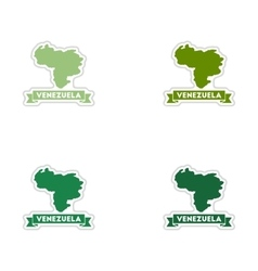 Set of paper stickers on white background map of vector image vector image