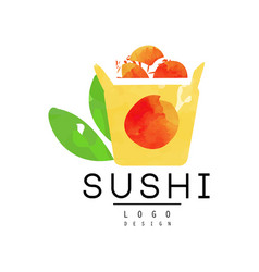 sushi logo design japanese food emblem watercolor vector image vector image