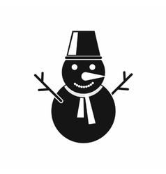 Winter snowman icon black simple style vector image vector image