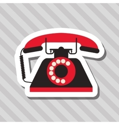 colorful retro phone design vector image