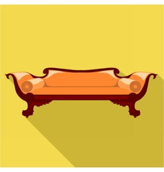 Digital orange sofa with round pillows vector image vector image