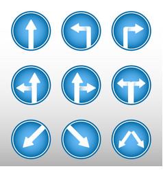road sign arrows icons vector image vector image