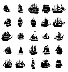 Sailing ship silhouette set vector image vector image